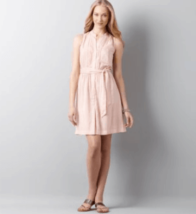 Ann Taylor LOFT Pintuck Dot Trim Shirtdress