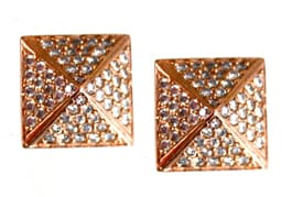 Rose Gold Pyramid Stud Earrings