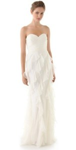 badgley mischka iridescent strapless ruffle gown