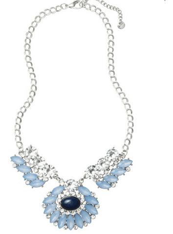 short cast blue stones necklace