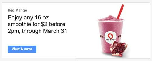 Red Mango Coupon via Google Offers