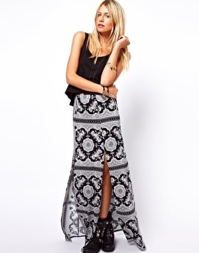 SOS Maxi Skirt in Scarf Print