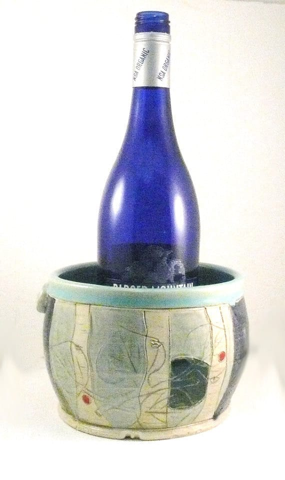 wine chiller blue sky pottery