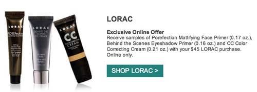 Lorac free samples with purchase