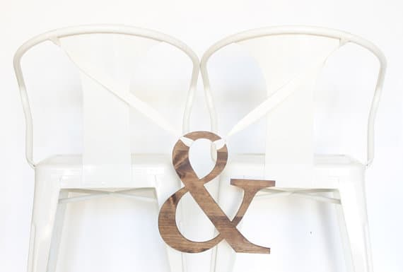 Ampersand Wedding Chair Sign