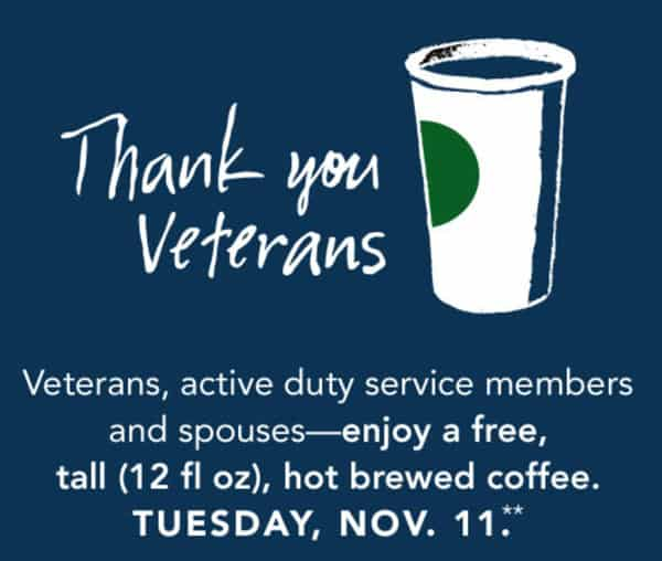 Free Coffee for Veterans at Starbucks