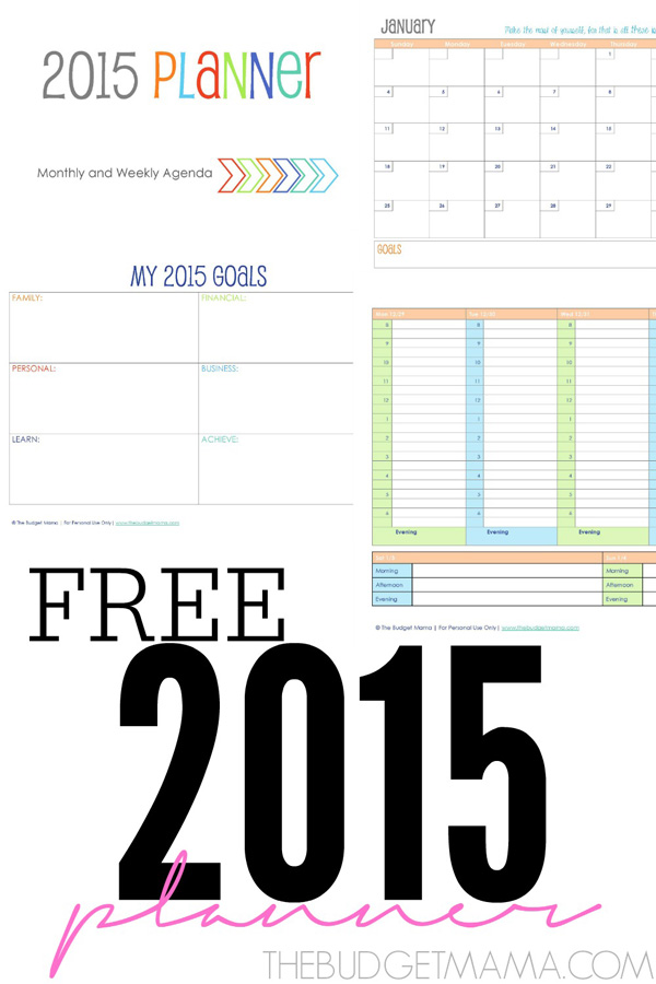 Free 2015 Printable Planner from  The Budget Mama