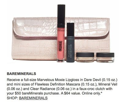 Bareminerals free beauty gift with purchase