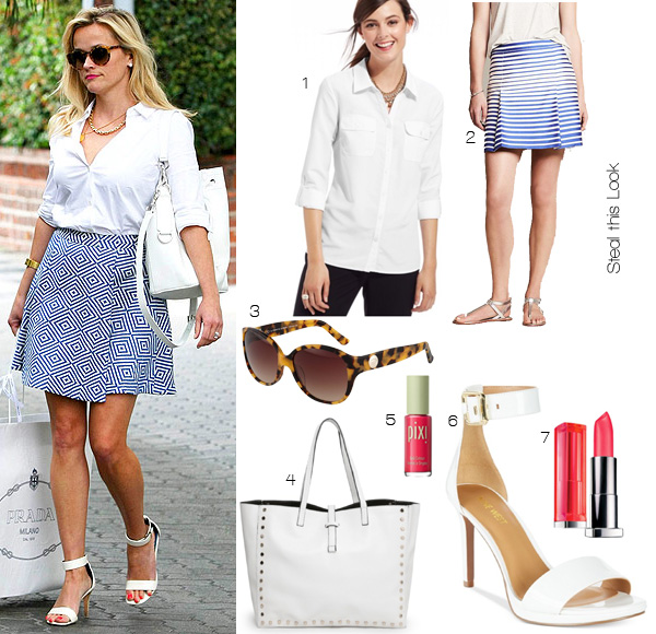 Steal this Look: Reese Witherspoon's Blue and White Ensemble