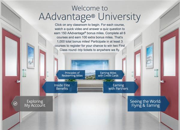 American Advantage University: 1,000 free miles