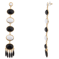 Black and White Statement Drop Earrings