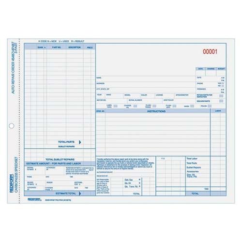 shopokstate - Rediform 3-part Auto Repair Order Forms