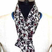 Unique Black and Red Print Scarf on White Base