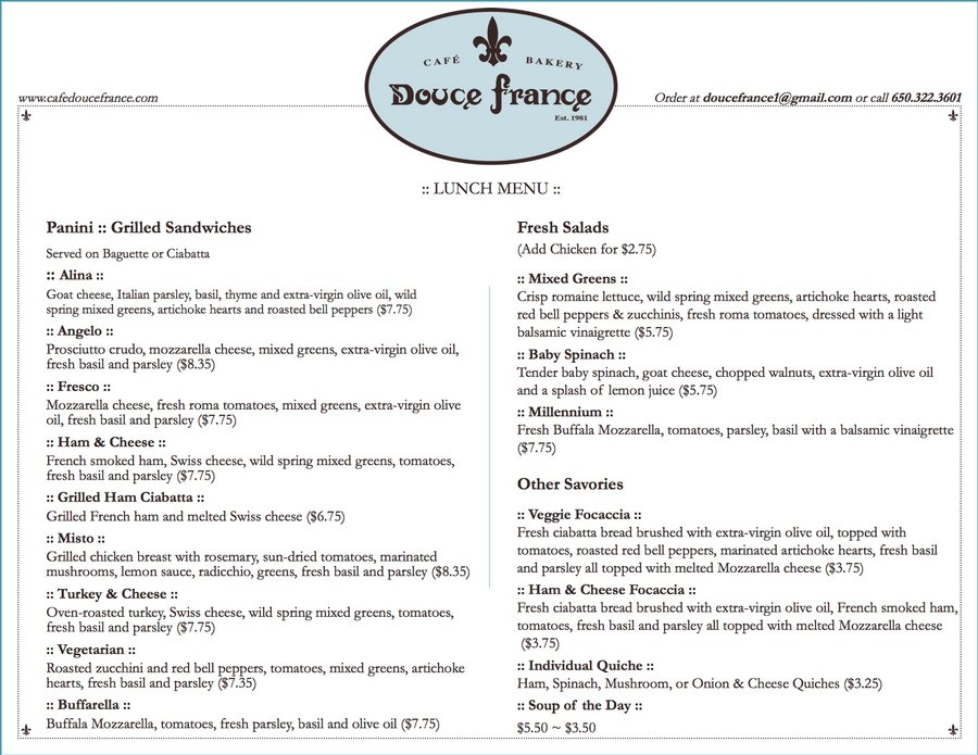 Online Menu for Douce France in Palo Alto, California, United States