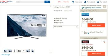 tesco extra clubcard points with samsung tv bought at hughes