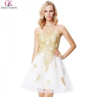Buy White And Gold Prom Dresses Short Formal Ball Gowns ...
