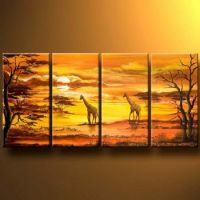 Evening Sky Over Savannah Landscape Oil Painting Canvas