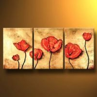Poppies On Gold I-Modern Canvas Art Wall Decor-Floral Oil ...