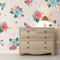 Half Order Coral & Teal Graphic Flower Wall Decals from