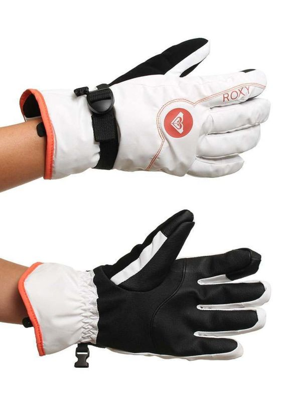 ROXY JETTY SOLID SNOW GLOVES Bright White