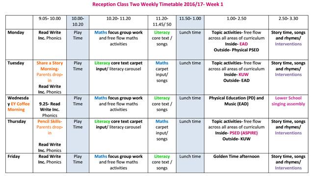 Reception - Shoreditch Park Primary School - class timetable