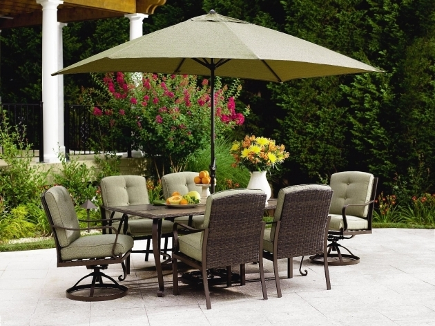 Wonderful 7 Piece Patio Dining Set With Swivel Chairs