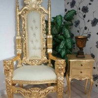 High Backed Throne Chair Gold Image 69   Chair Design
