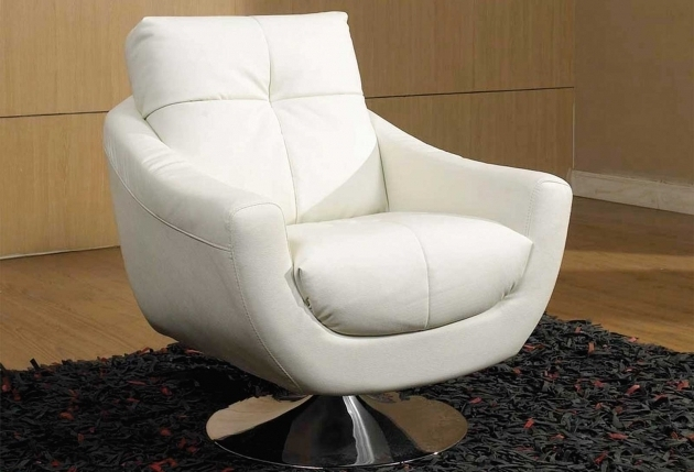 White Swivel Club Chairs Upholstered Accent Chair