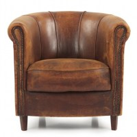Distressed Leather Club Chair For Sale One Pair Of English ...