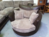 Swivel Round Cuddle Chair Fabric Chenille Leather Round ...