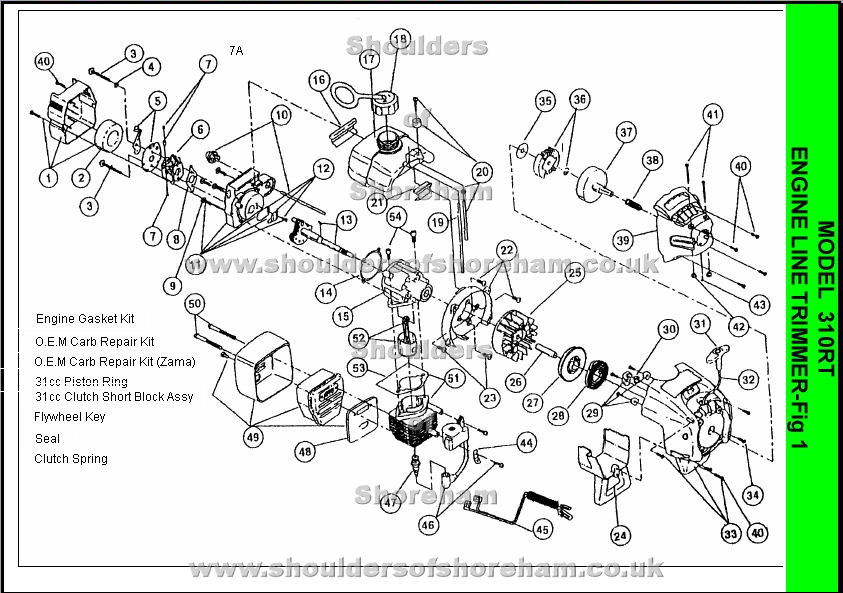 Ryobi 310RT Spare Parts Diagrams Spares and Spare Parts