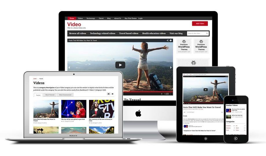 Templatic Video WordPress Theme  Free WordPress Video Template