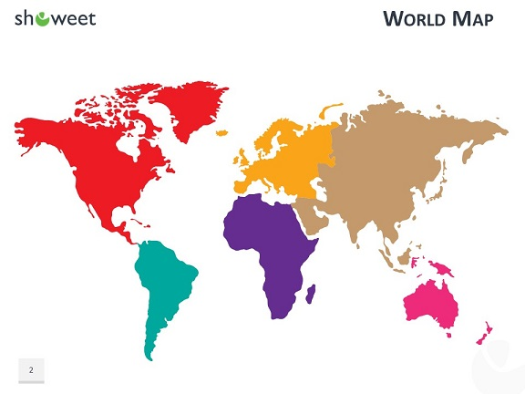 PowerPoint World Map with Rollover Effect