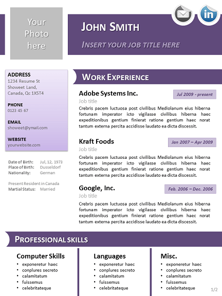 templates cv couleur