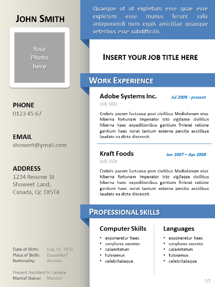 template word ppt cv