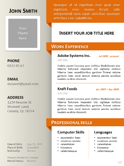 Free Cv Template Dot Org Download One Of Our Resume Clean Resumecv Template For Powerpoint