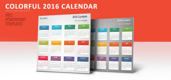 Colorful 2016 Calendar for PowerPoint - powerpoint calendar template