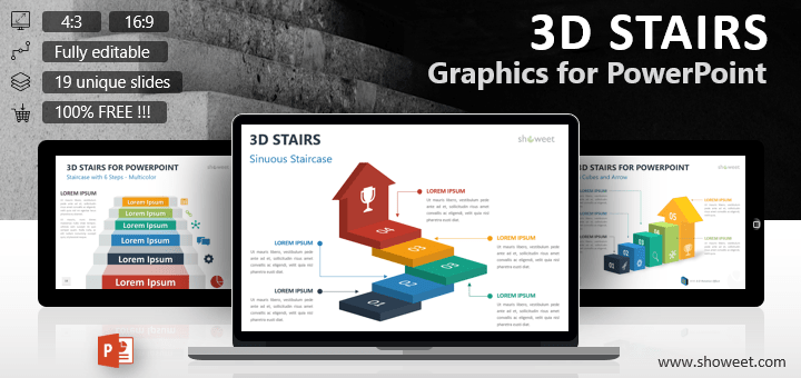 3d stairs editable powerpoint template