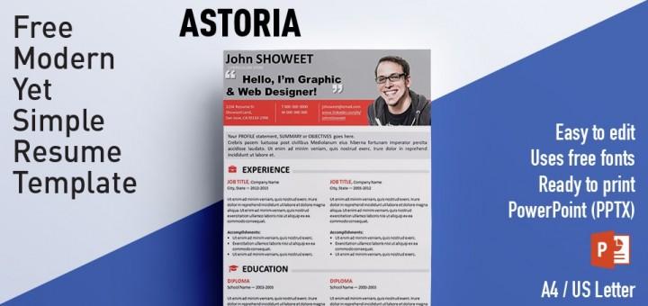 Astoria Clean PowerPoint Resume / CV Template - powerpoint designer resume