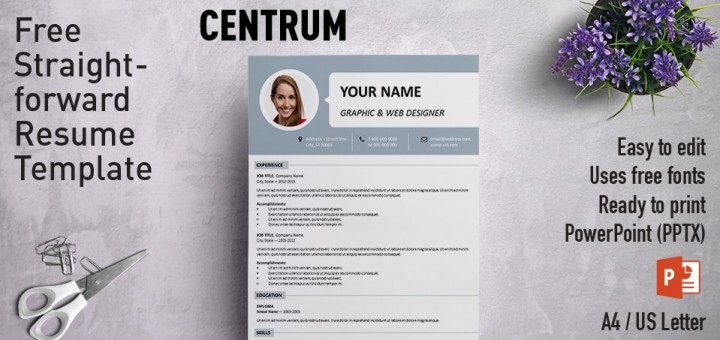 Centrum Simple PowerPoint Resume Template - resume paper size
