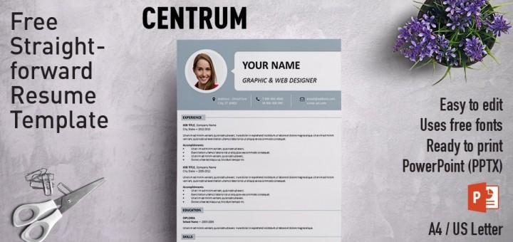 Centrum Simple PowerPoint Resume Template - powerpoint designer resume