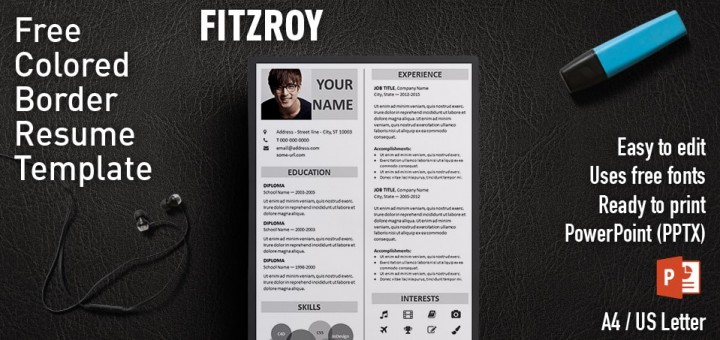 Fitzroy Border PowerPoint Resume Template - resume powerpoint template