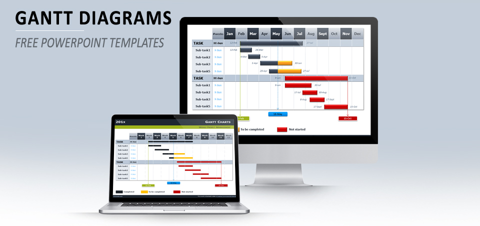 Free Gantt Chart Template for Powerpoint - diagrams template