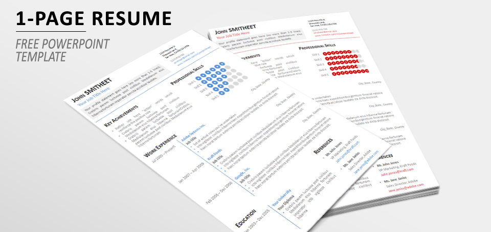 1-Page Minimalist Resume/CV Template for PowerPoint - 1 page resume template