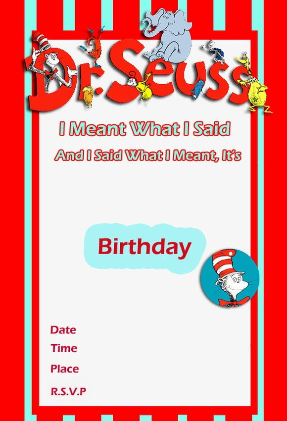 Dr Seuss Birthday Invitation free template 2 Invitations Online