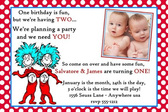 dr seuss twins birthday invitation sample Invitations Online - birthday invitations sample