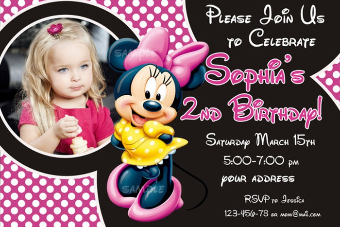 Personalized Minnie Mouse Birthday Invitation Sample Invitations - birthday invitations sample