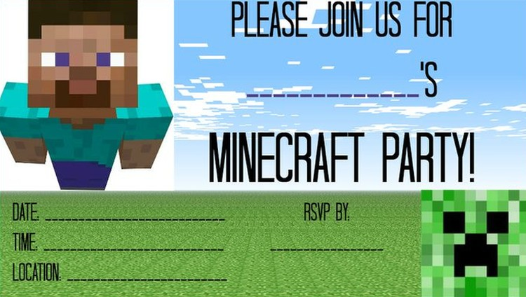 Free Minecraft party invitation template Invitations Online - free party invitations templates online