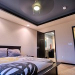 modern master bedroom with vaulted ceiling