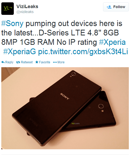 ViziLeaks vaza o Xperia G, possível novo smartphone da Sony